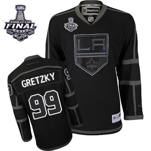 Wayne Gretzky Los Angeles Kings Men's Reebok Authentic Black Ice 2014 Stanley Cup Patch Jersey