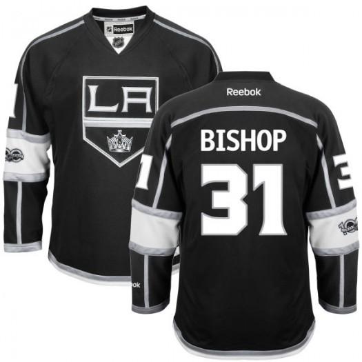 Ben Bishop Los Angeles Kings Men's Reebok Replica Black Home Centennial Patch Jersey