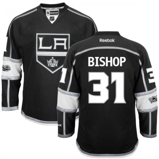 Ben Bishop Los Angeles Kings Men's Reebok Authentic Black Home Centennial Patch Jersey