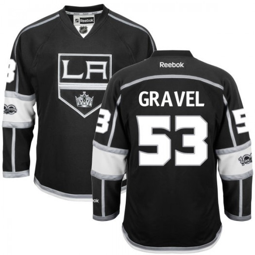Kevin Gravel Los Angeles Kings Men's Reebok Authentic Black Home Centennial Patch Jersey
