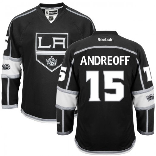 Andy Andreoff Los Angeles Kings Youth Reebok Replica Black Home Centennial Patch Jersey