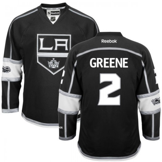Matt Greene Los Angeles Kings Youth Reebok Replica Green Black Home Centennial Patch Jersey