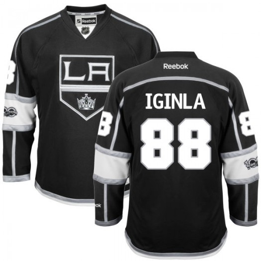 Jarome Iginla Los Angeles Kings Youth Reebok Premier Black Home Centennial Patch Jersey