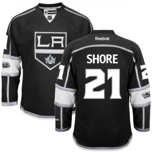 Nick Shore Los Angeles Kings Youth Reebok Premier Black Home Centennial Patch Jersey