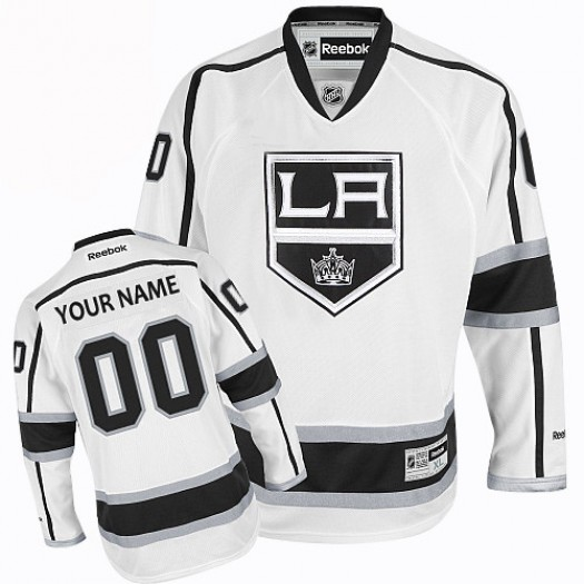 Men's Reebok Los Angeles Kings Customized Authentic White Away Jersey