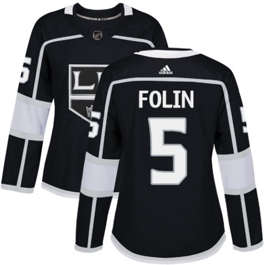 Christian Folin Los Angeles Kings Women's Adidas Authentic Black Home Jersey