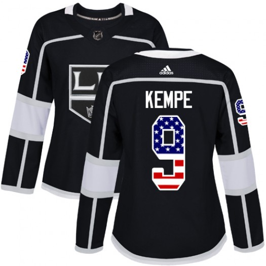Adrian Kempe Los Angeles Kings Women's Adidas Authentic Black USA Flag Fashion Jersey