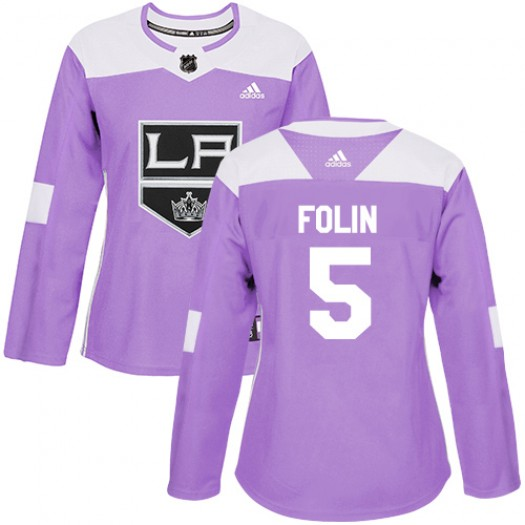 Christian Folin Los Angeles Kings Women's Adidas Authentic Purple Fights Cancer Practice Jersey