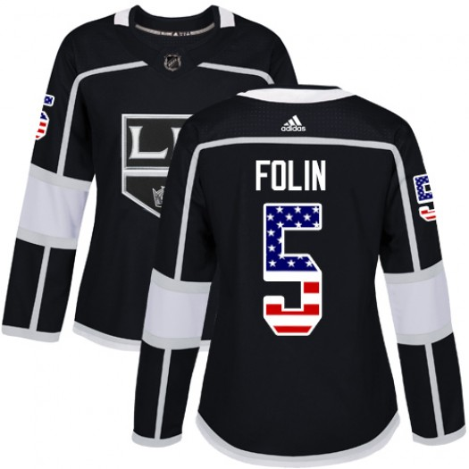 Christian Folin Los Angeles Kings Women's Adidas Authentic Black USA Flag Fashion Jersey