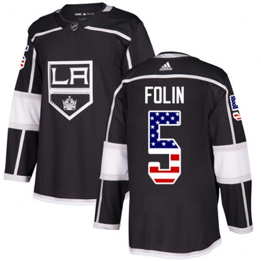 Christian Folin Los Angeles Kings Youth Adidas Authentic Black USA Flag Fashion Jersey