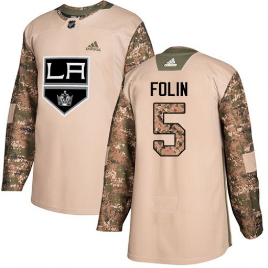 Christian Folin Los Angeles Kings Youth Adidas Authentic Camo Veterans Day Practice Jersey