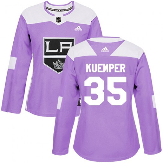 Darcy Kuemper Los Angeles Kings Women's Adidas Authentic Purple Fights Cancer Practice Jersey