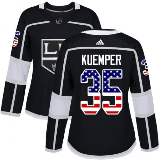 Darcy Kuemper Los Angeles Kings Women's Adidas Authentic Black USA Flag Fashion Jersey