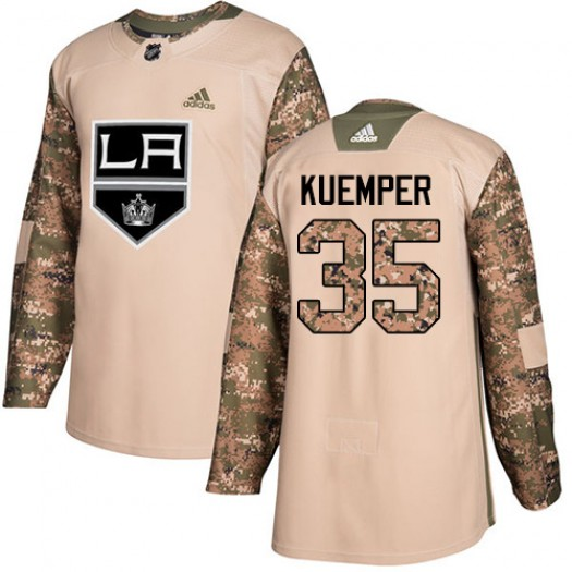 Darcy Kuemper Los Angeles Kings Men's Adidas Authentic Camo Veterans Day Practice Jersey