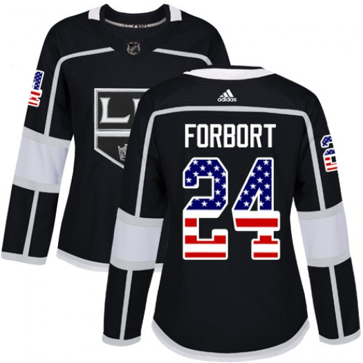Derek Forbort Los Angeles Kings Women's Adidas Authentic Black USA Flag Fashion Jersey