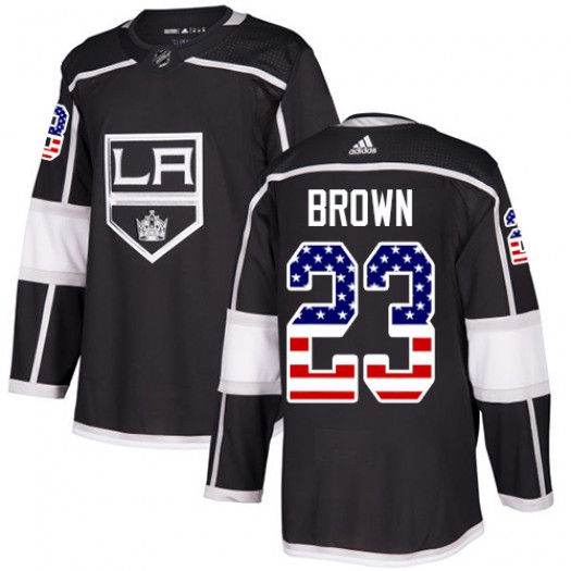 Dustin Brown Los Angeles Kings Youth Adidas Authentic Black USA Flag Fashion Jersey