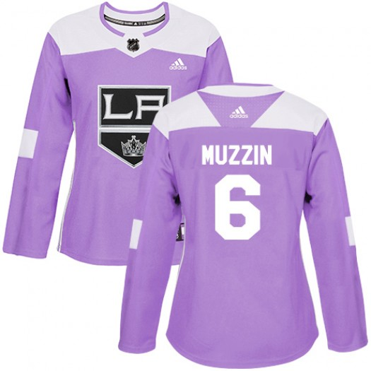 Jake Muzzin Los Angeles Kings Women's Adidas Authentic Purple Fights Cancer Practice Jersey