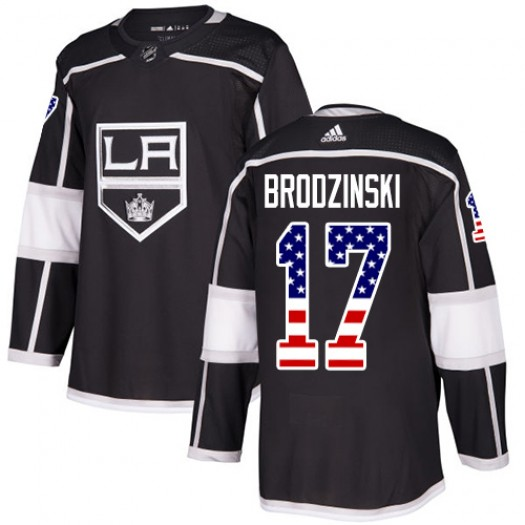 Jonny Brodzinski Los Angeles Kings Youth Adidas Authentic Black USA Flag Fashion Jersey