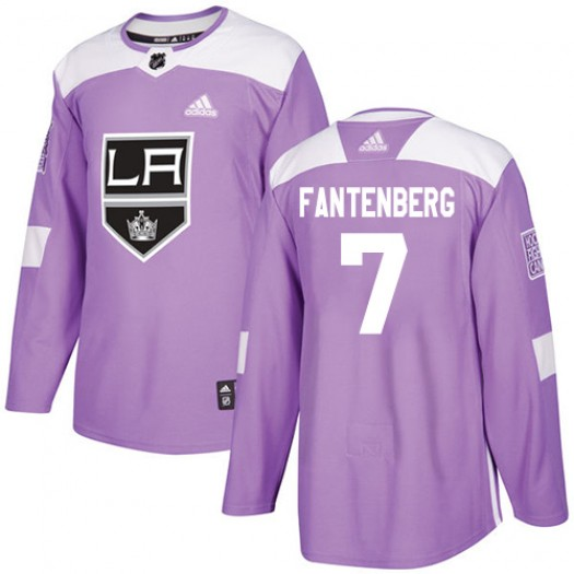 Oscar Fantenberg Los Angeles Kings Men's Adidas Authentic Purple Fights Cancer Practice Jersey