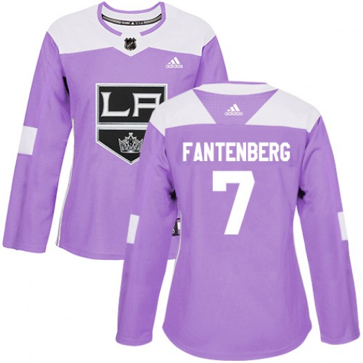 Oscar Fantenberg Los Angeles Kings Women's Adidas Authentic Purple Fights Cancer Practice Jersey