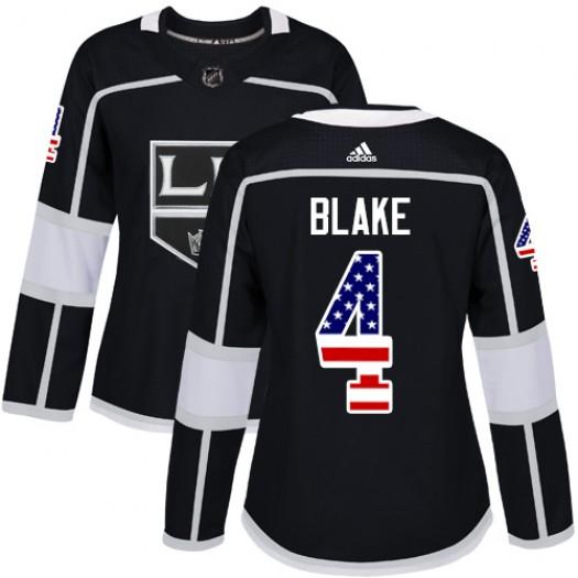 Rob Blake Los Angeles Kings Women's Adidas Authentic Black USA Flag Fashion Jersey
