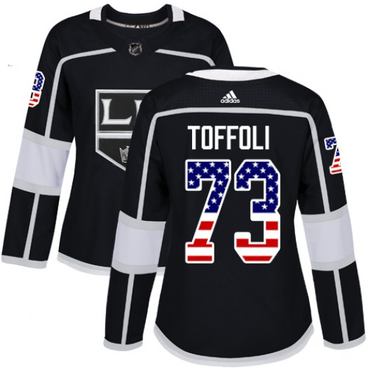 Tyler Toffoli Los Angeles Kings Women's Adidas Authentic Black USA Flag Fashion Jersey